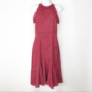 Who What Wear Red Dotted Midi Dress Size XS